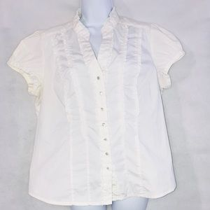 George Ruffle Button Down Blouse White Xtra Large